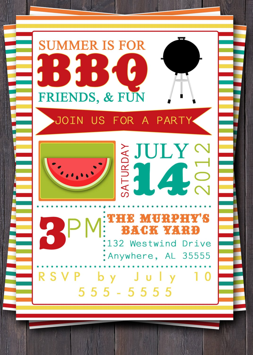 Bbq Party Invitation Invite  Birthday, Baby Shower, Pool Party