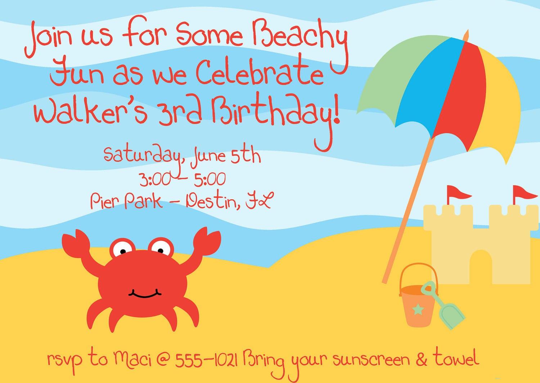 Beach Party Invitation Templates - Mickey Mouse Invitations Templates