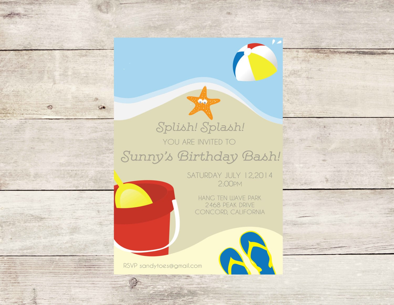 Beach Birthday Party Theme Invitation