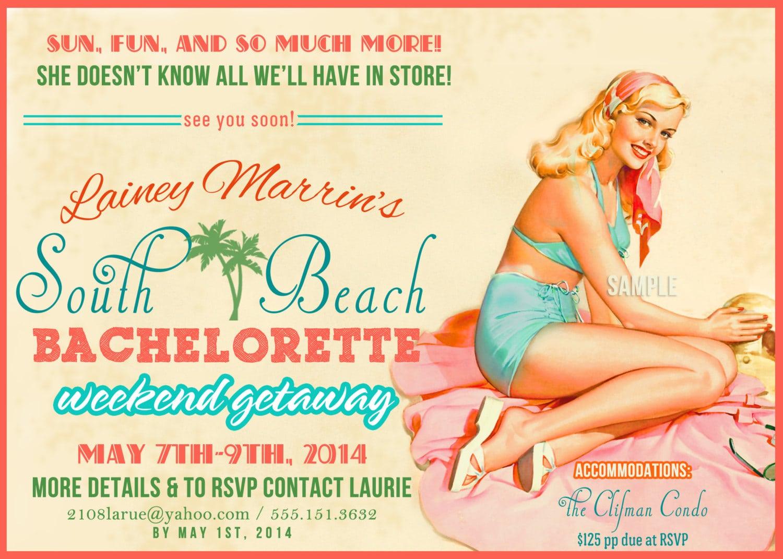 Beach Cruise Vintage Pin Up Girl Invitation Bachelorette