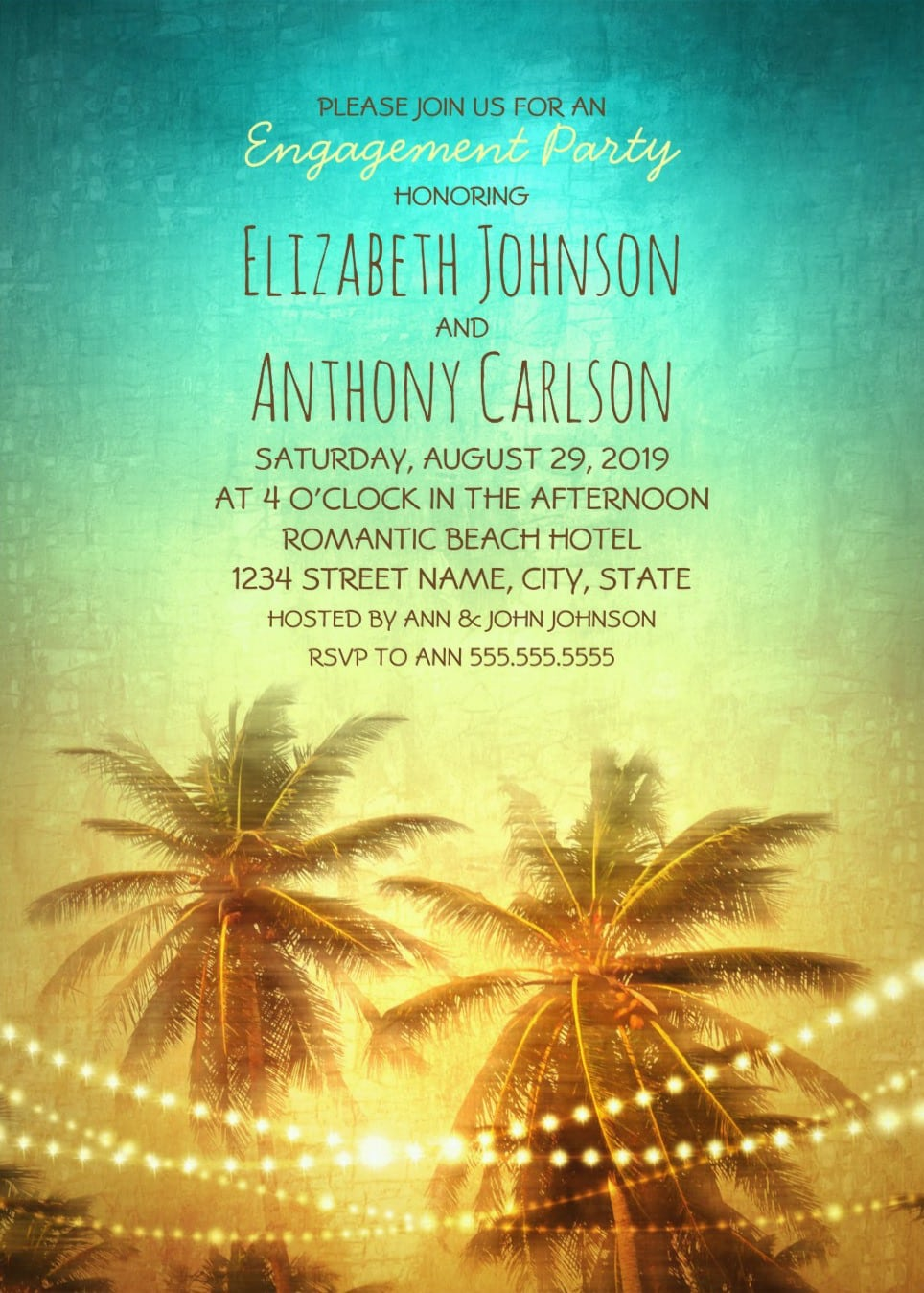 Beach Engagement Party Invitations Archives