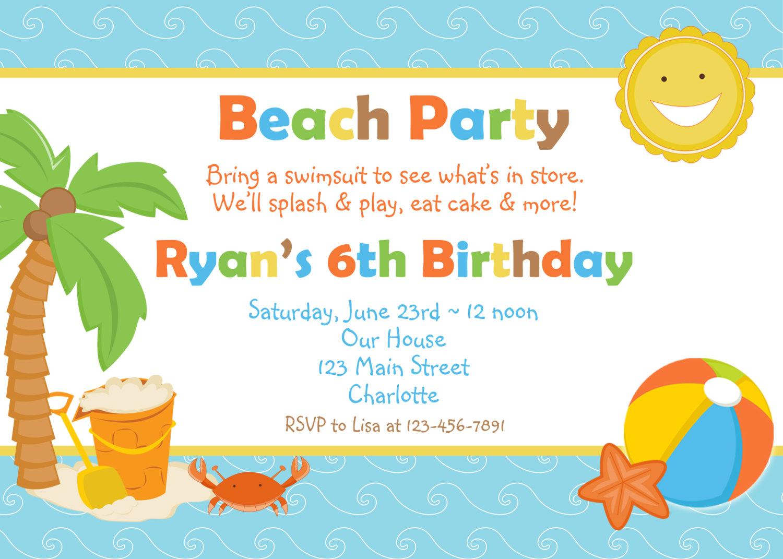 Beach Party Invitation Wording