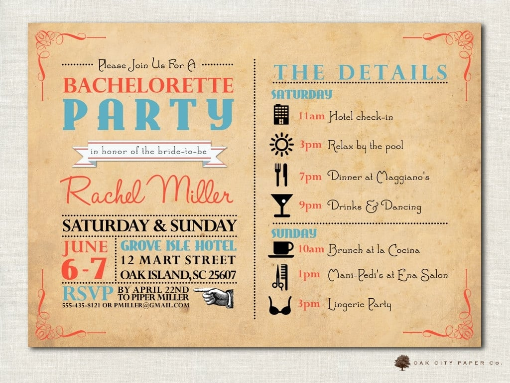 Beach Themed Bachelorette Party Invitations Beach Bachelorette