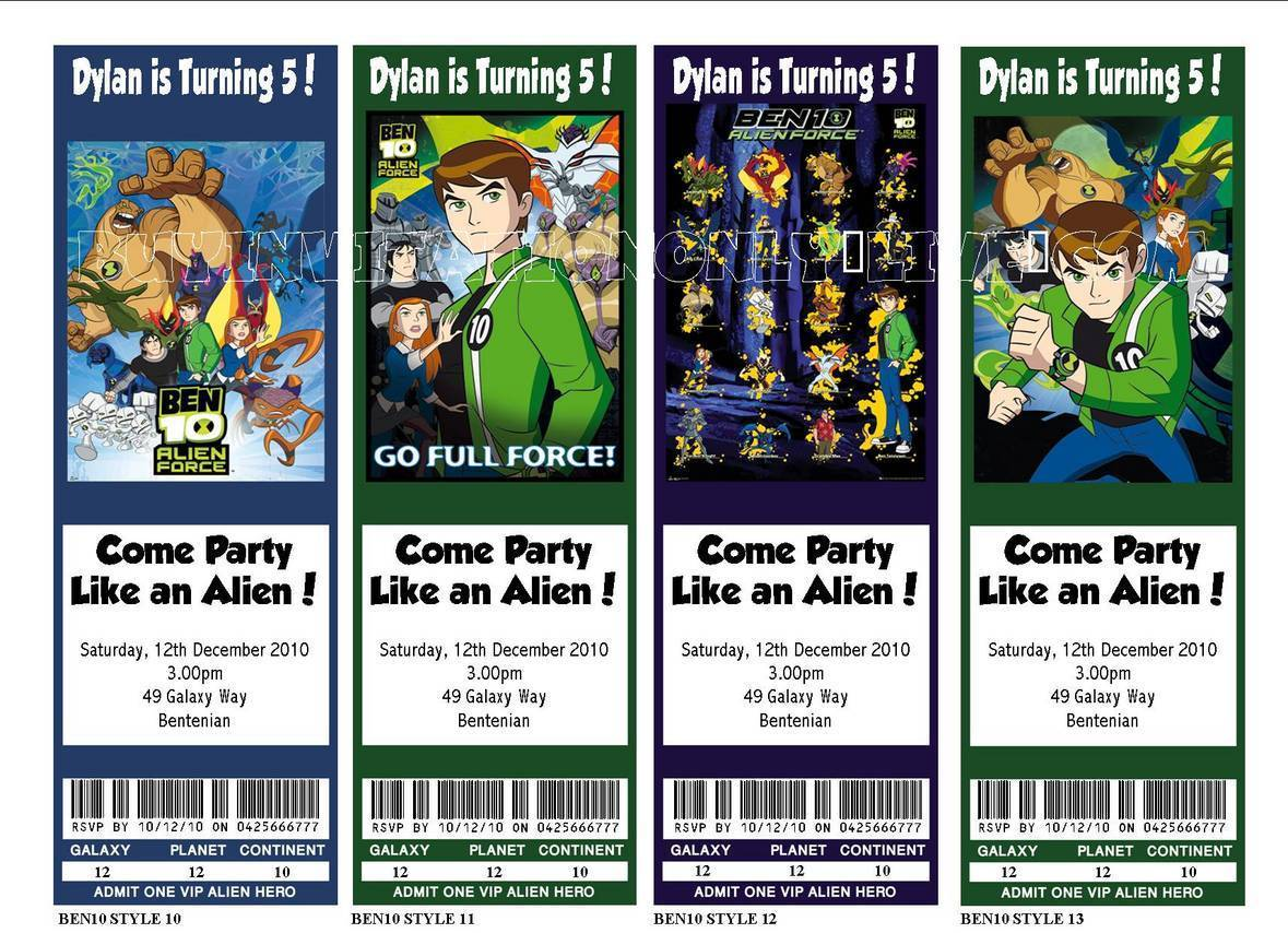 Ben 10 Personalised Birthday Invitations & Party Favours