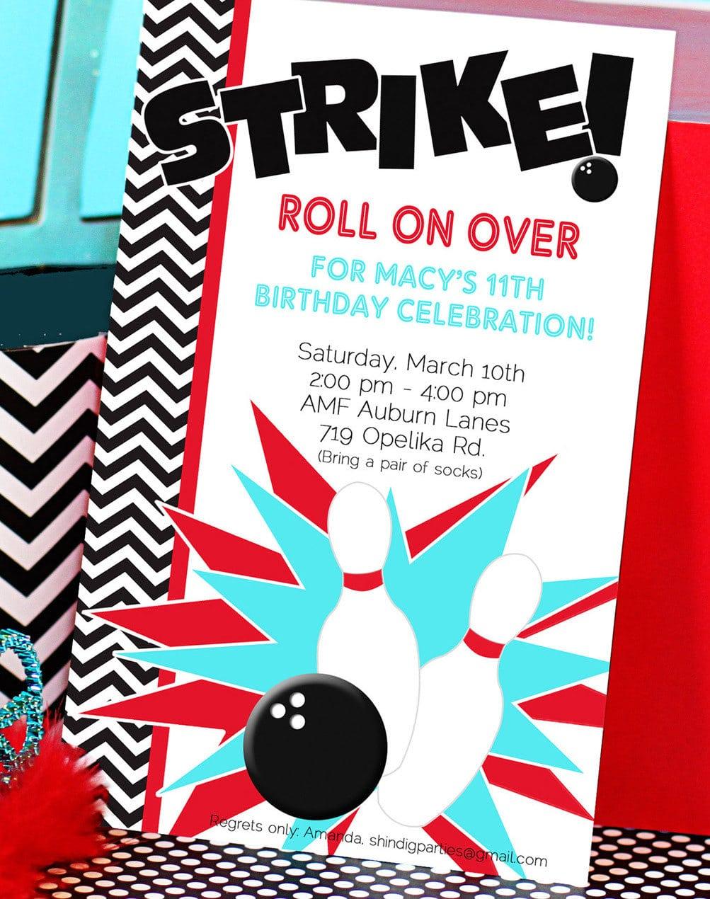 Birthday Invitations   Bowling Party Invitations Templates Ideas