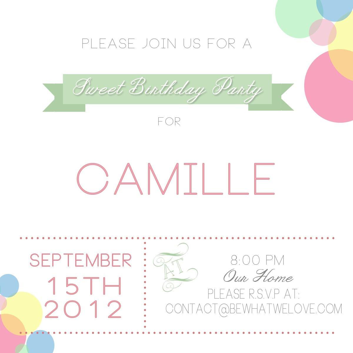 Birthday Invitations   Email Birthday Invites