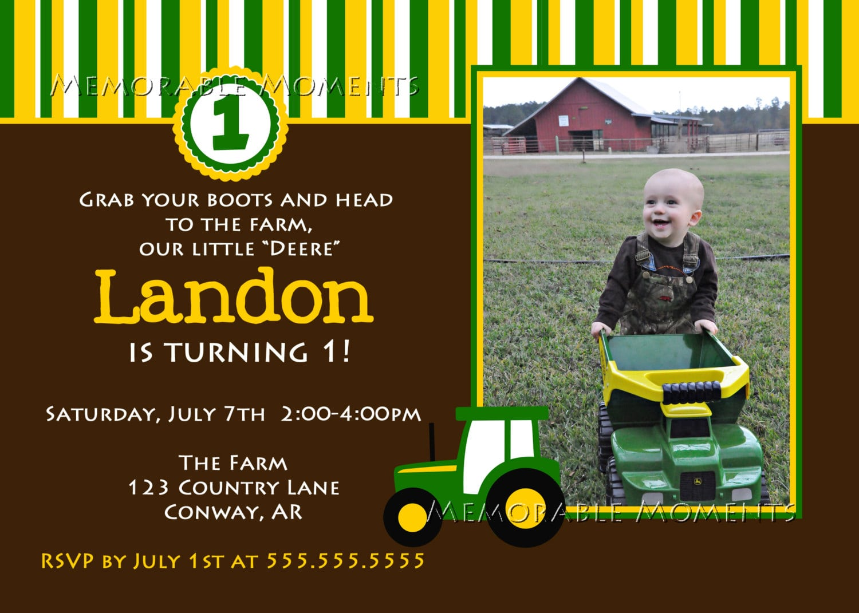 Birthday Invitations   John Deere Farm Birthday Invitations