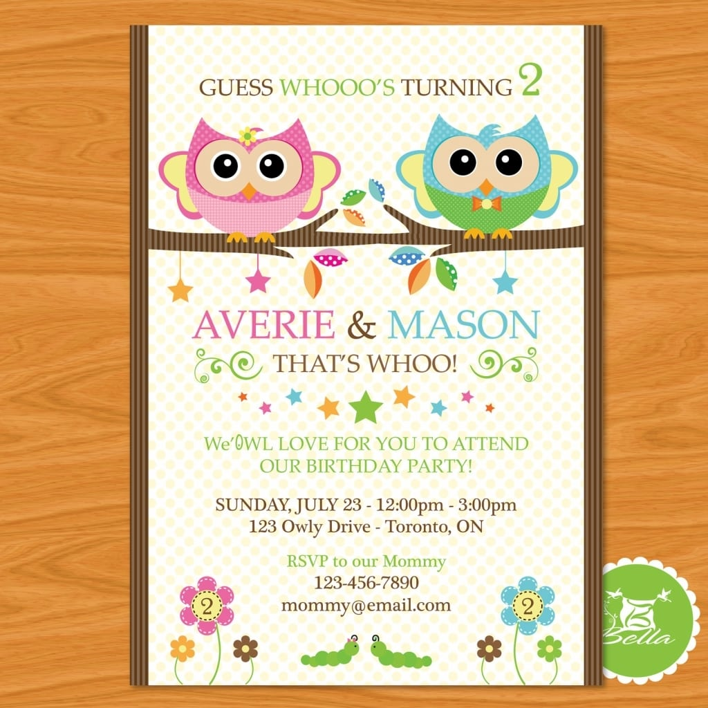 Birthday Invitations For Twins Twin Party Invitations Twin