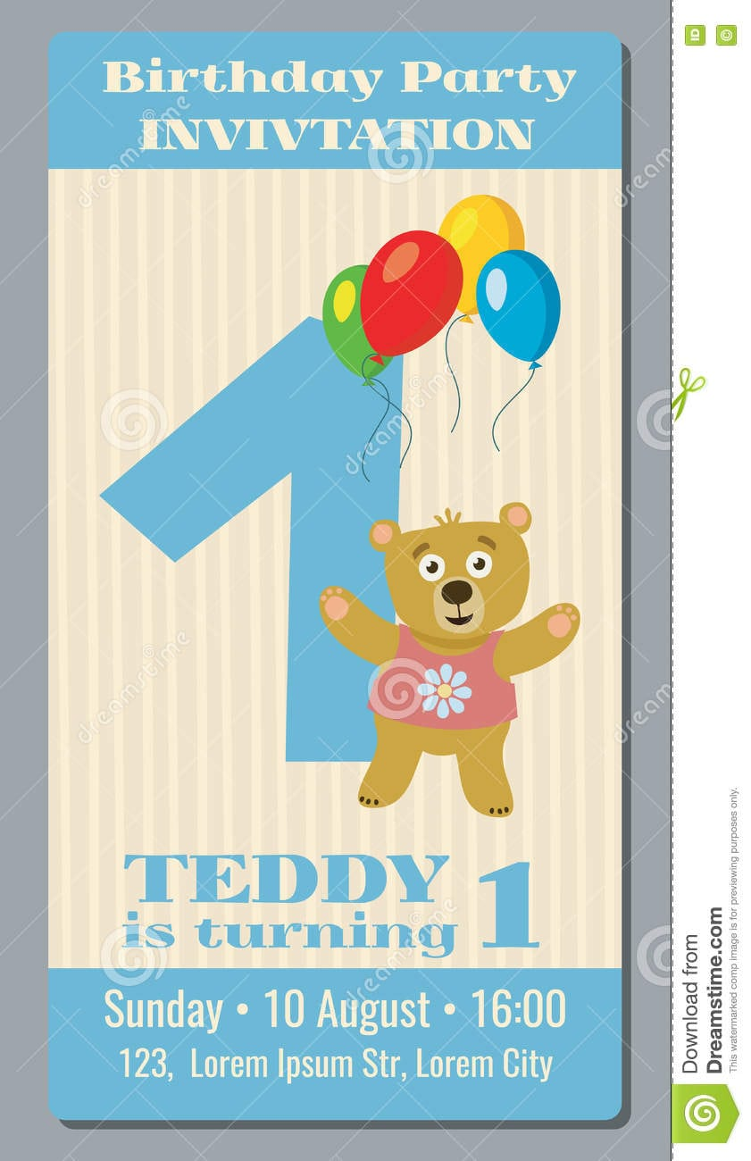 Birthday Party Invitation Card With Cute Bear Vector Template 1