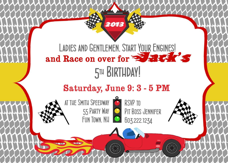 Birthday Party Invitation Race Car Race Cars Boy Birthday