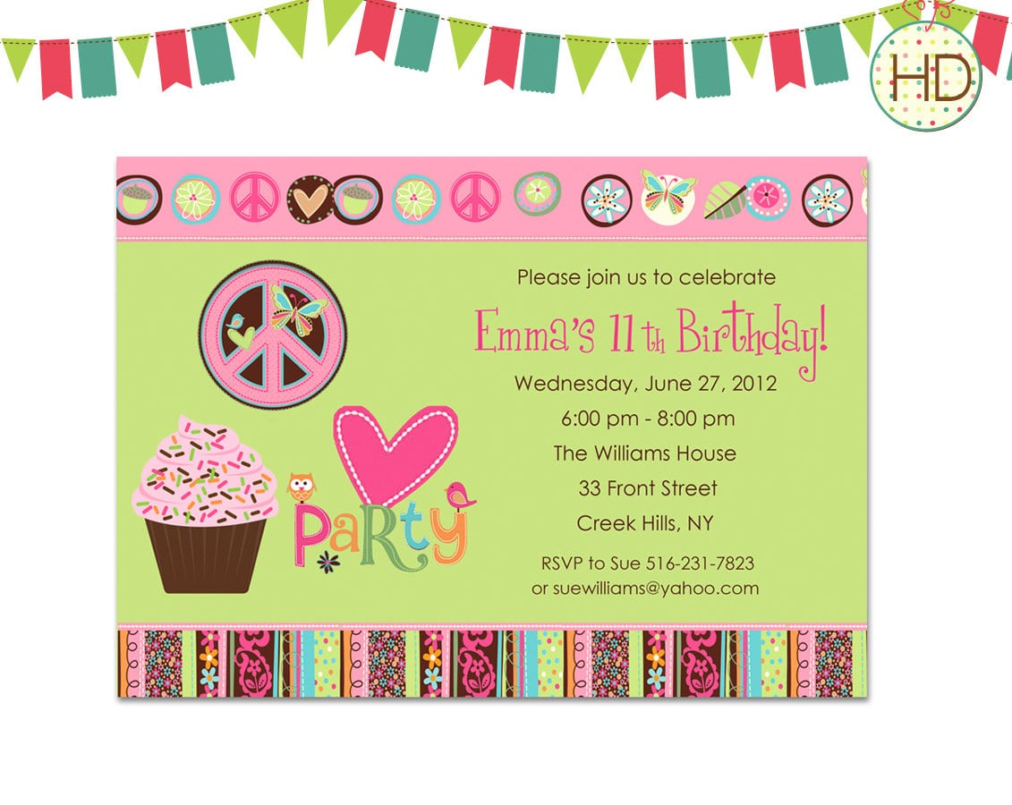 Hippie Party Invitations - Mickey Mouse Invitations Templates