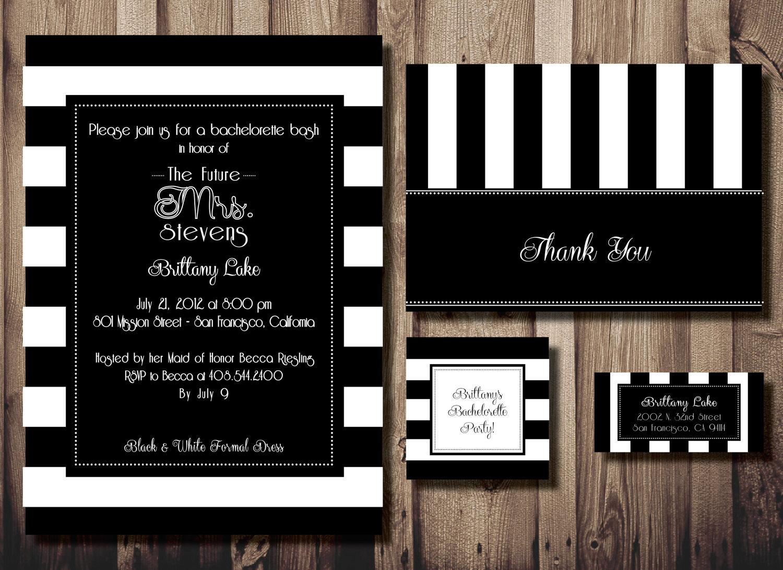 Black And White Striped Invitations