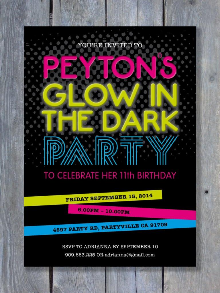 Black Light Party Invitation Ideas