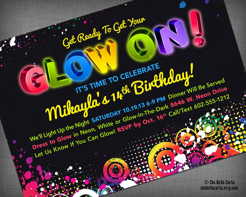 Black Light Party Invitations