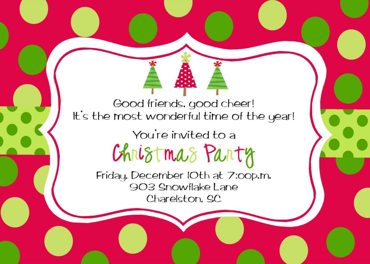 Blank Christmas Invitation Templates Free