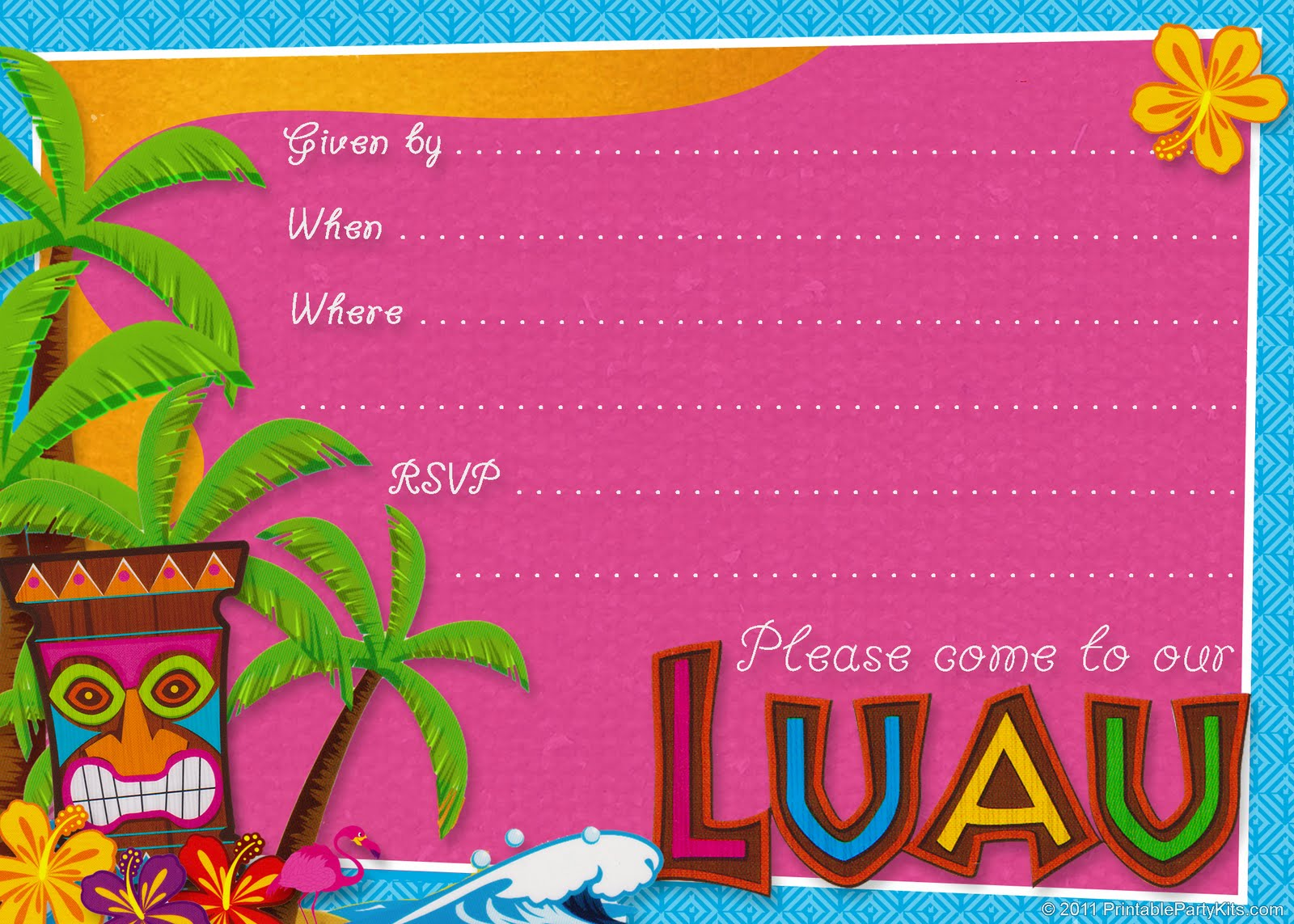Blank Hawaiian Party Invitations – March 2017 Calendar