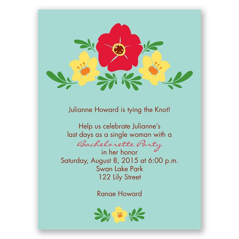 Blooming Vintage Bachelorette Party Invitation