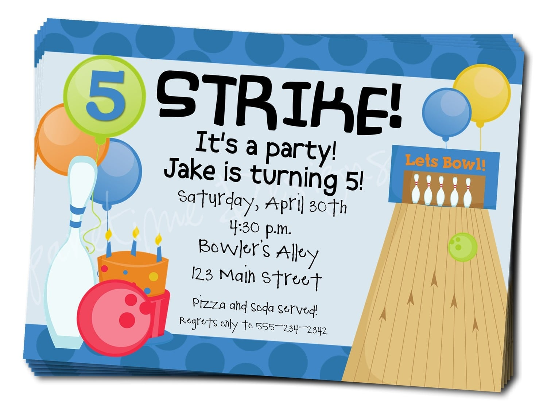 Bowling Birthday Party Invitation Wording