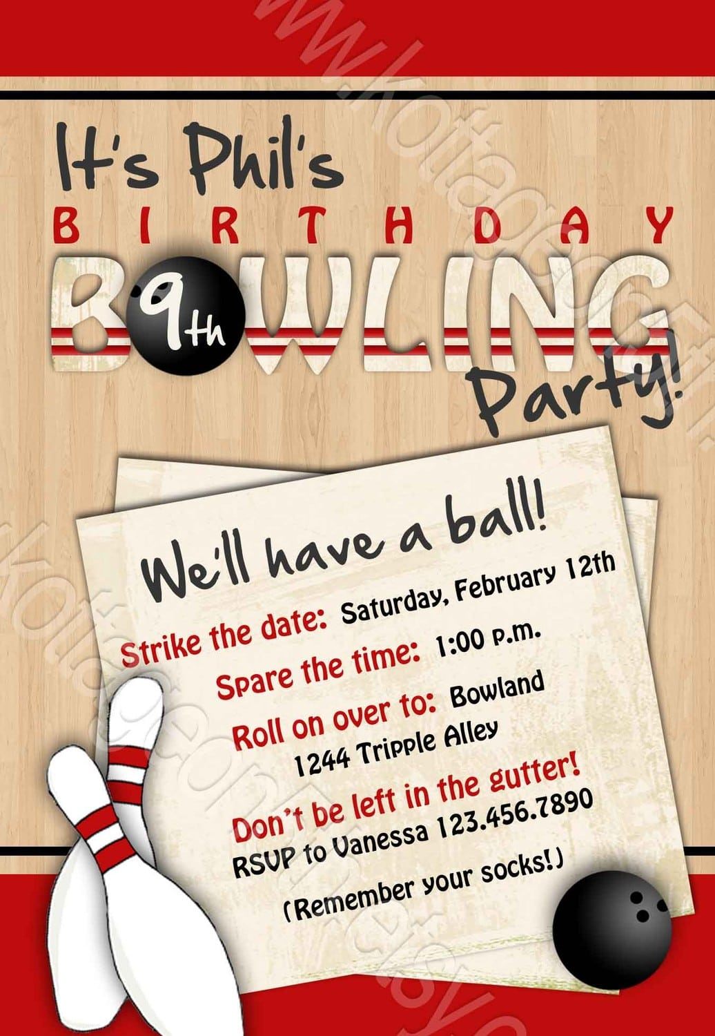 Bowling Party Invitation Wording Ideas