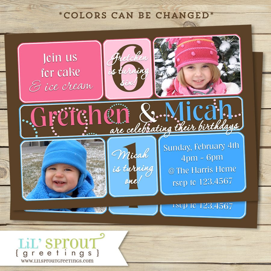 Boy And Girl Joint Birthday Invitation Boy And Girl Double