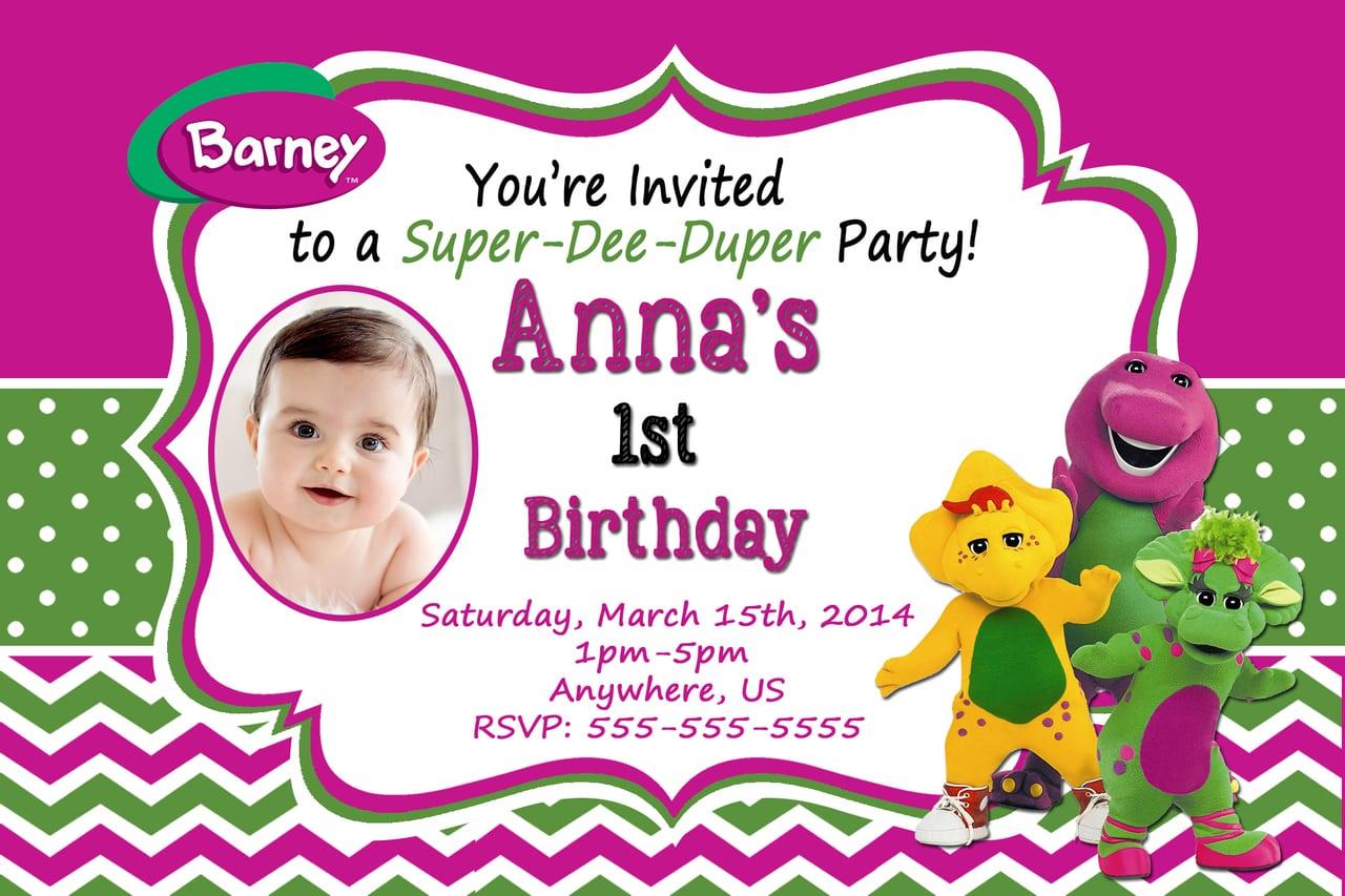 Boy Barney Purple Monster Digital File, Birthday Party Invitation
