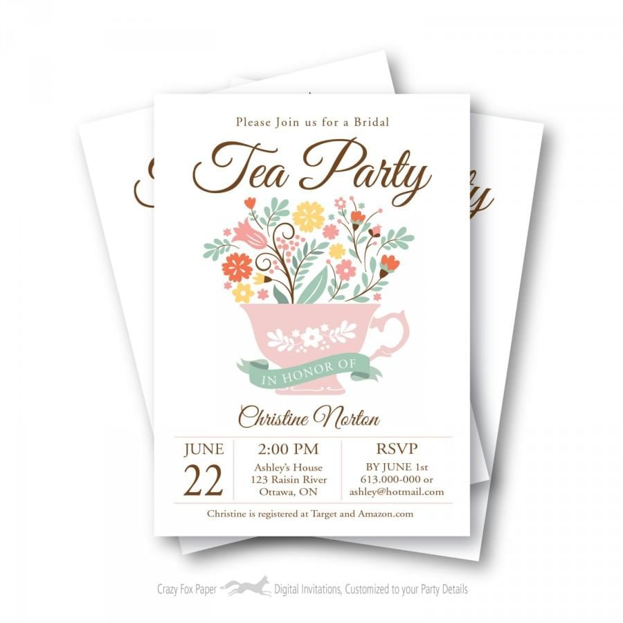 Bridal Shower Tea Party Invitation, Customized Printable