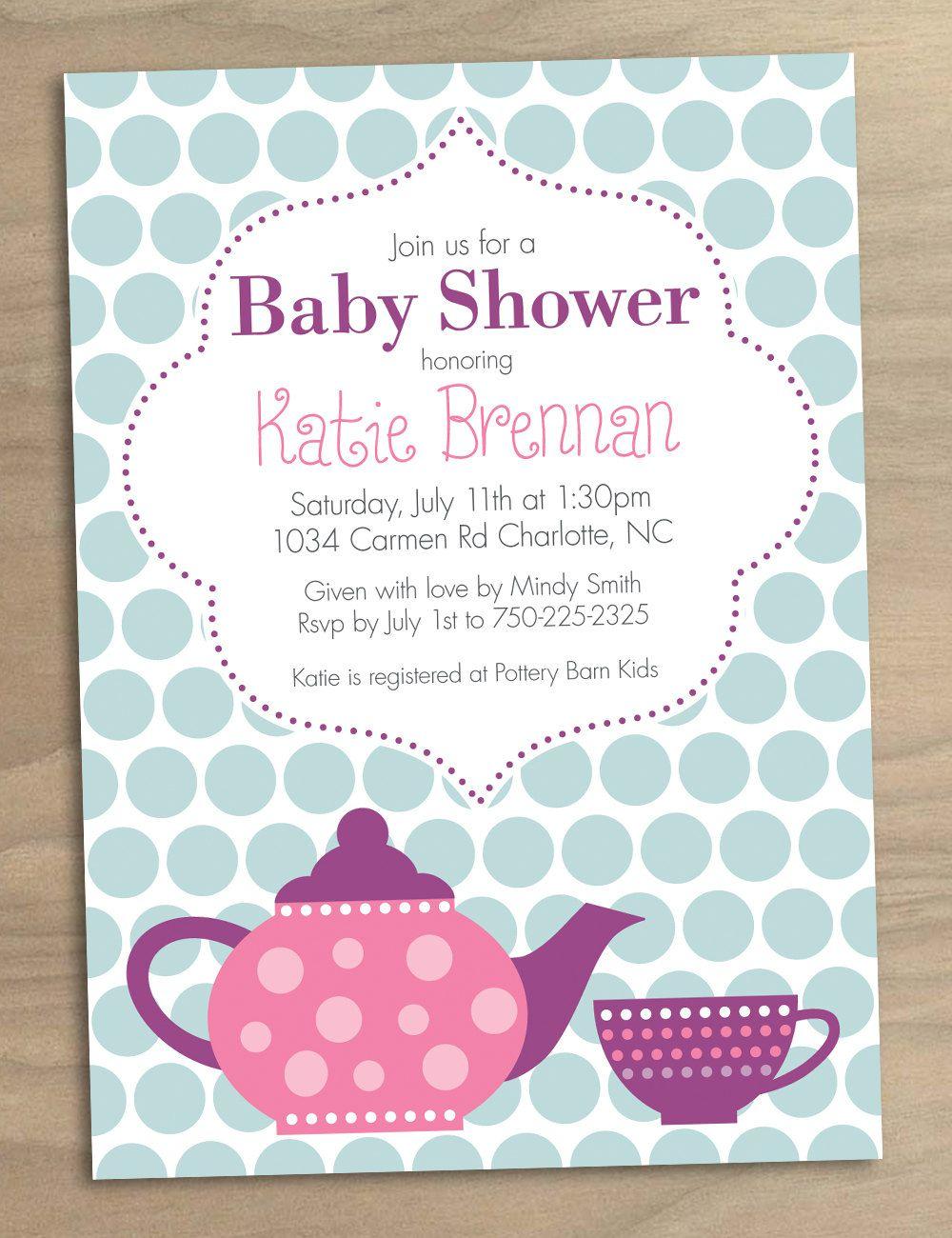 Bridal Shower Tea Party Invitations   Bridal Shower Tea Party