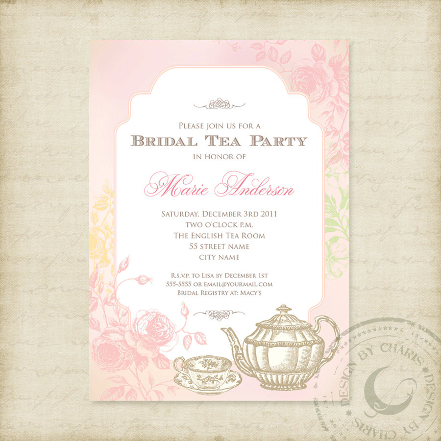 Elegant tea party invitations mickey mouse invitations templates bridal tea party invitations monicamarmolfo Image collections