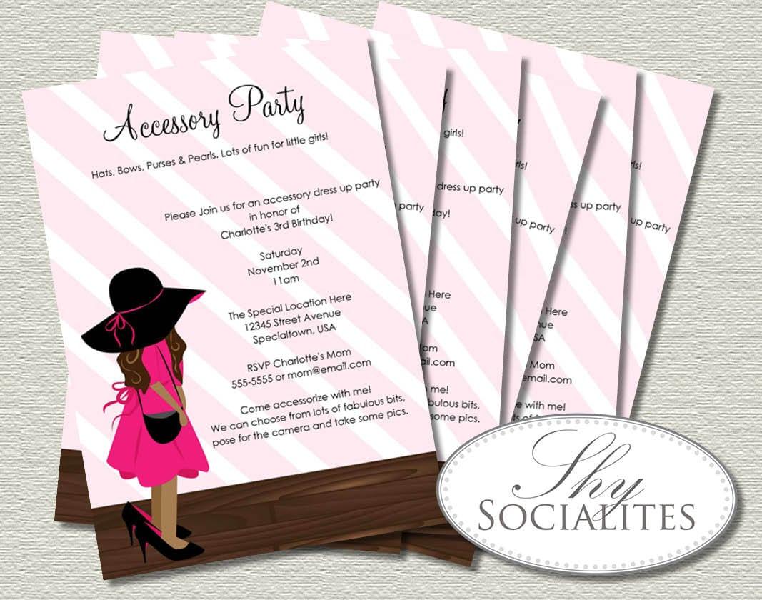 Brunette Little Girl Dress Up Party Invitations Fashion