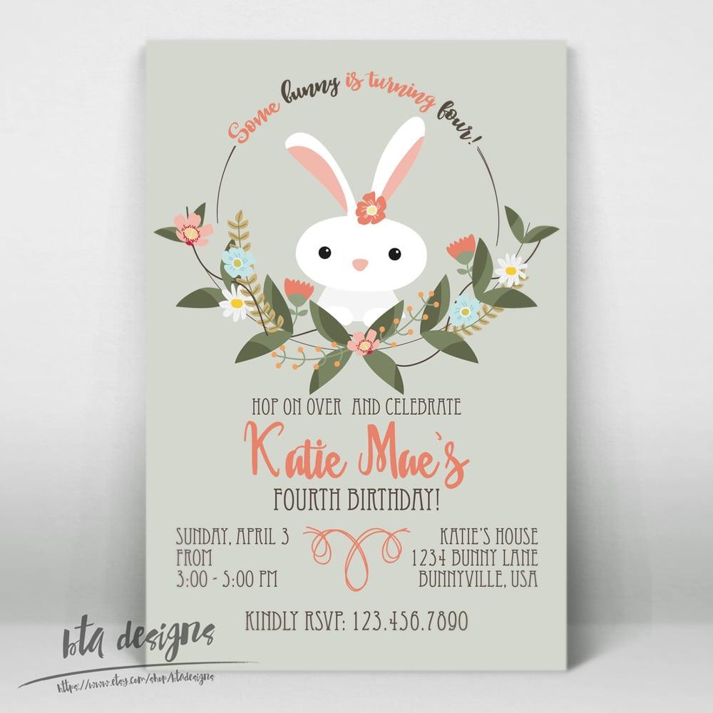 Bta Designs  Bunny Birthday Party Invitation 3