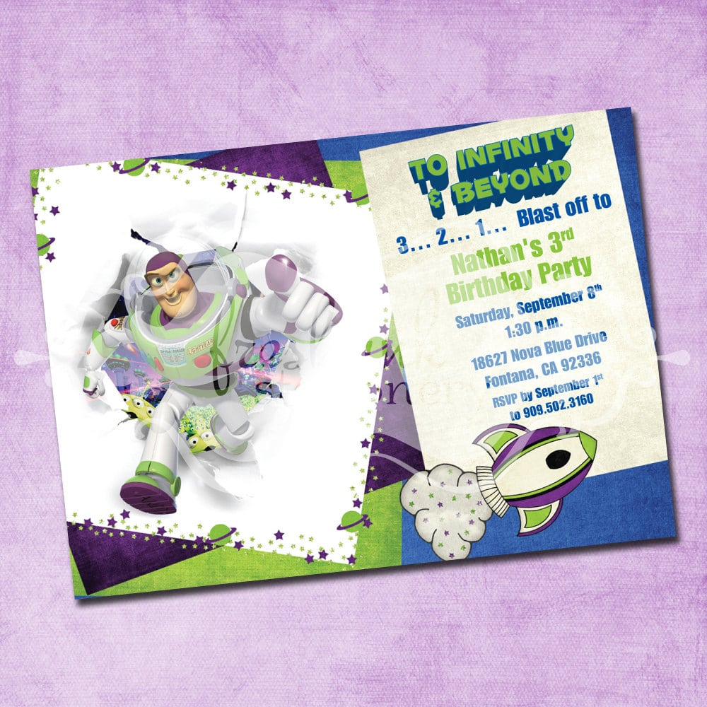 Buzz Lightyear Birthday Invitation By Freshinkstationery On Etsy
