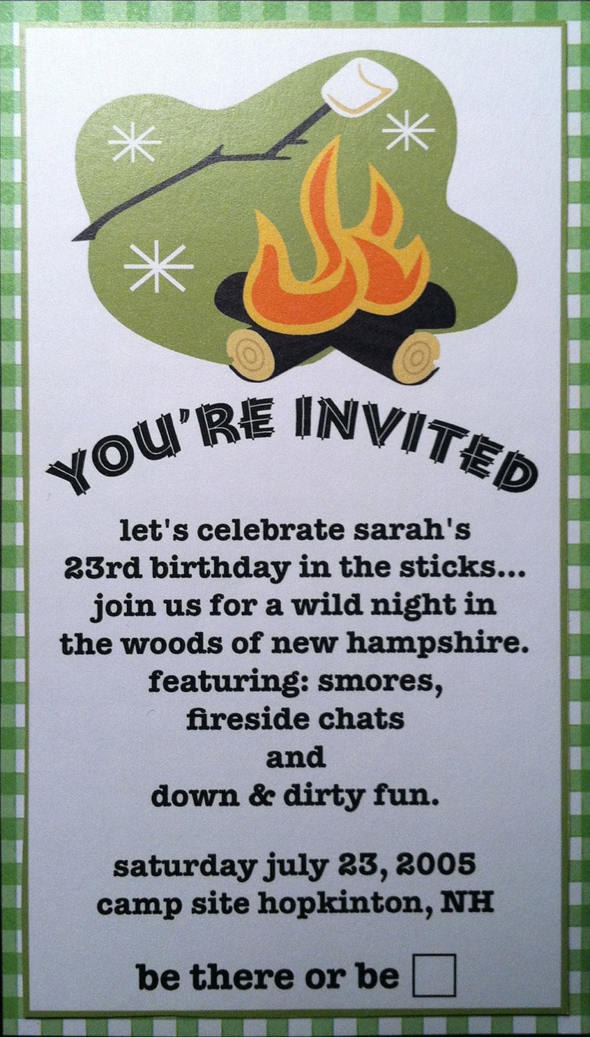 Camping   Outdoor Party Invitations By Purplechloe On Etsy