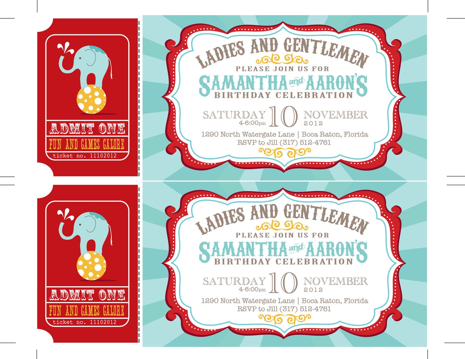 Carnival Birthday Party Invitations, Circus Baby Shower, Carnival