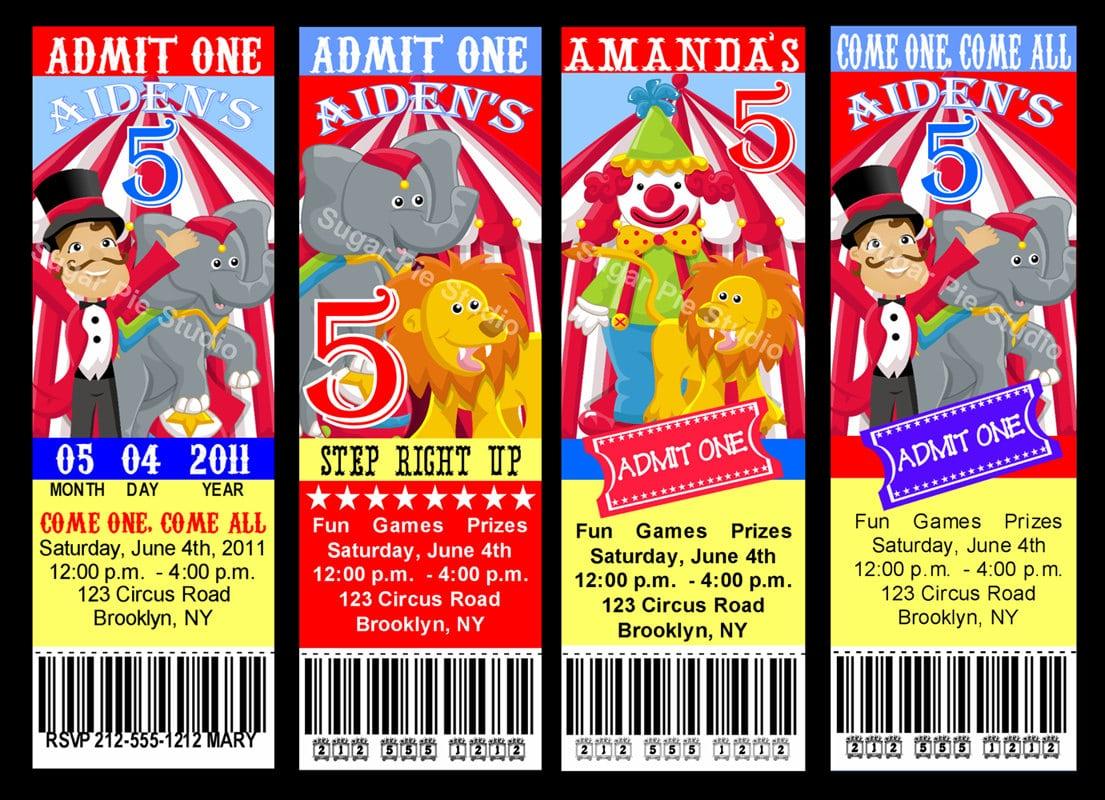 Carnival Themed Birthday Party Invitations