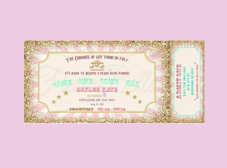 Carousel Birthday Ticket Style Invitation  Mint Green Pink