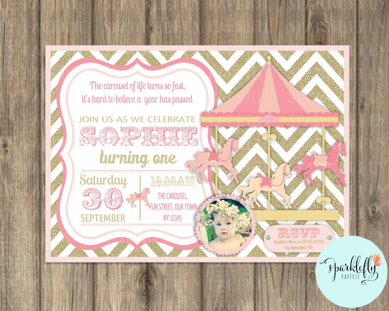 Carousel Invitation Carnival Invitation Printable Pink Gold