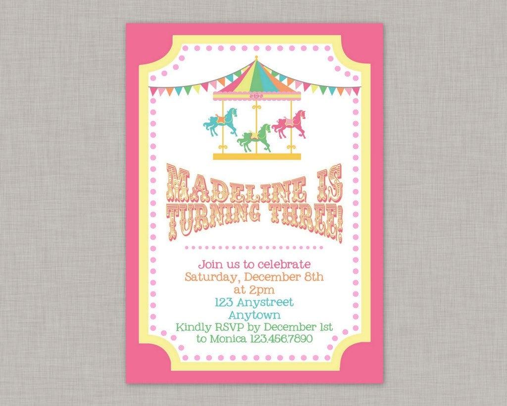 Carousel Invitation Carousel Birthday Invitation Carousel