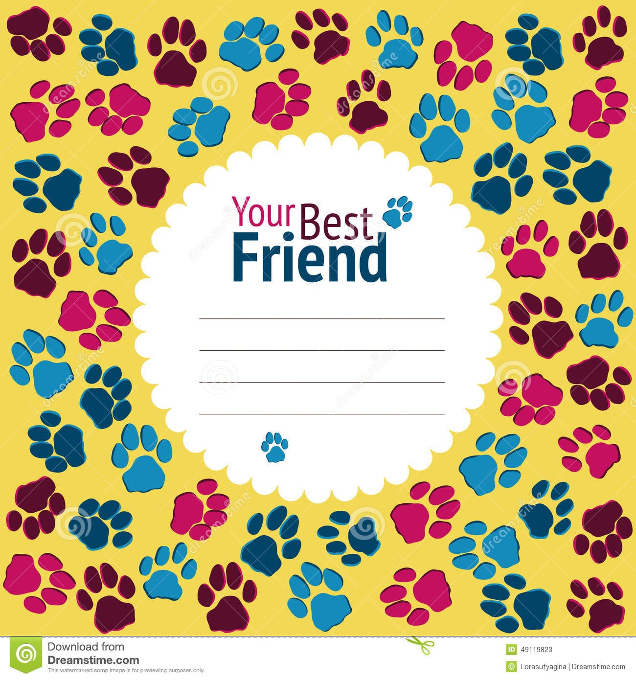 Cat Party Invitation  Cats Footprints Banner  Colorful Flyer  V