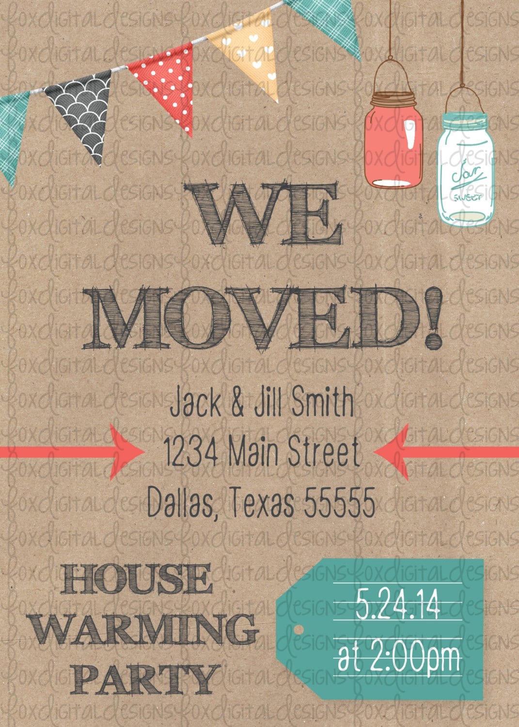 Chevron Moving Announcement & House Warming Party Invitation