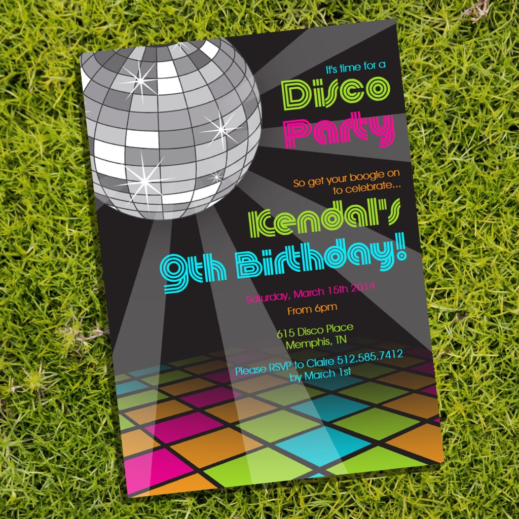 childrens disco party invitations