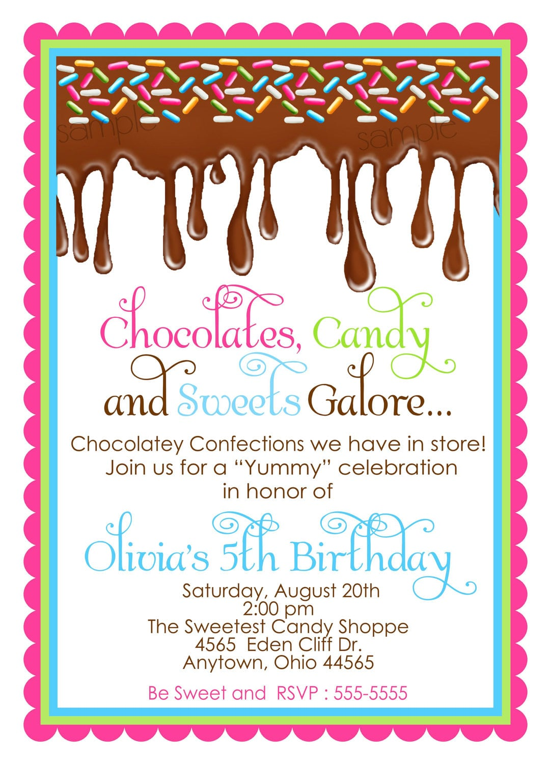 Chocolate Birthday Party Invitations