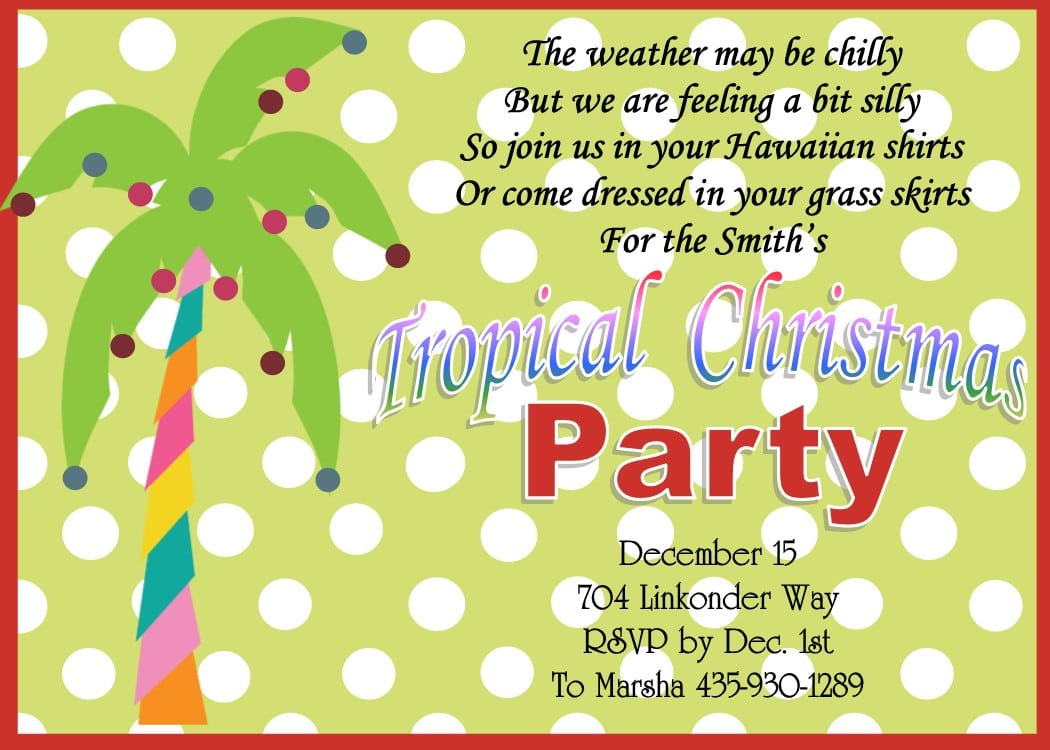 Christmas   Holiday Tropical Party Invitations 201