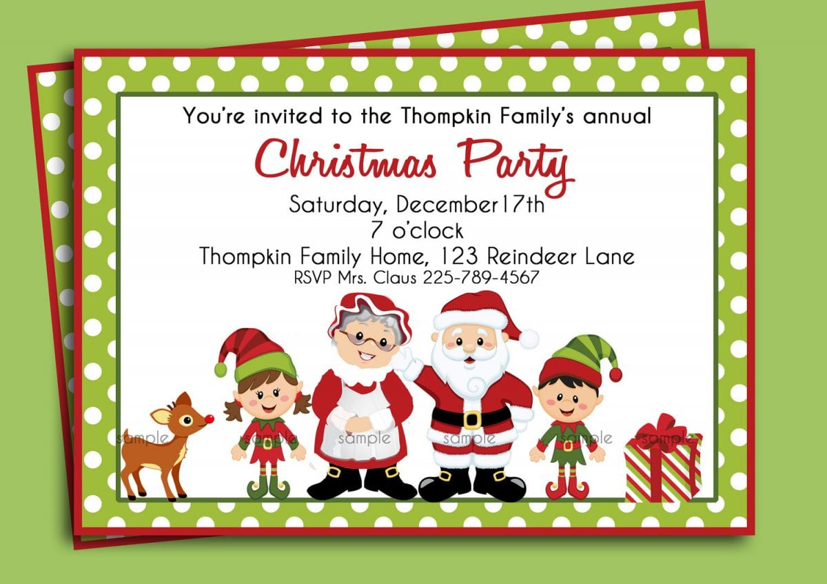 Christmas Dinner Party Invitation - Mickey Mouse Invitations Templates