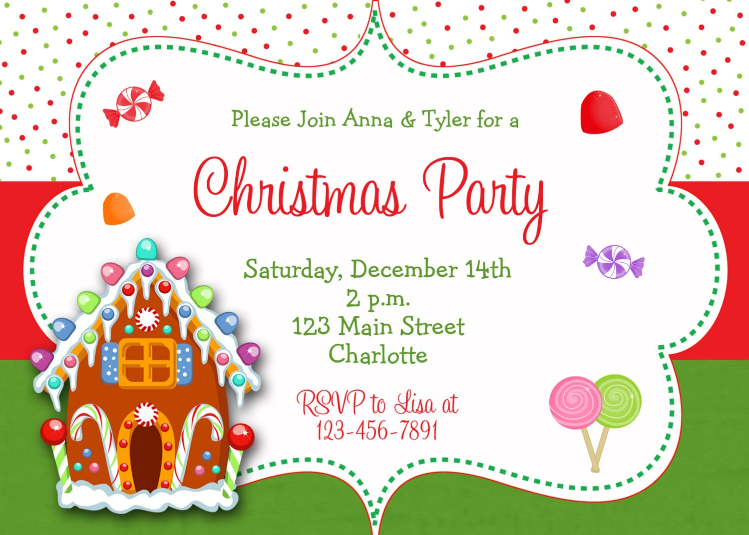 Christmas Gingerbread House Decorating Party Invitation, Digital