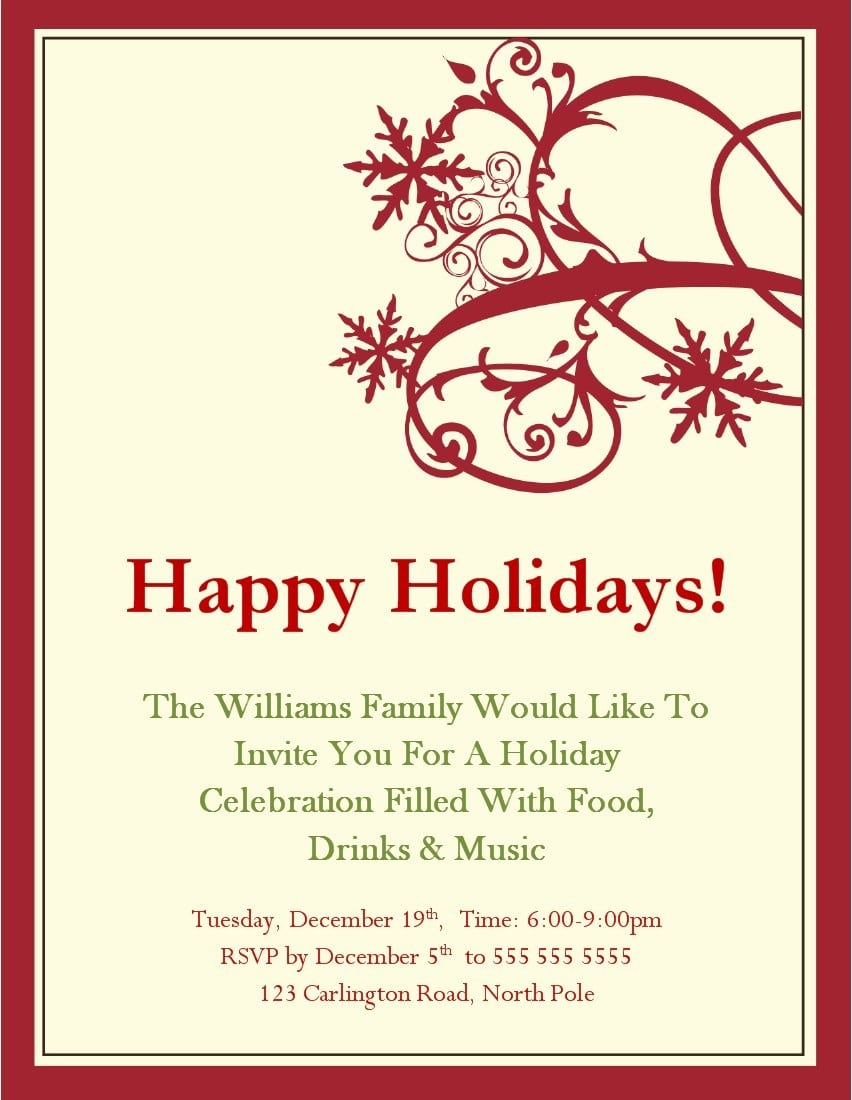 Christmas Invite Templates  Choose From These Free Christmas Party