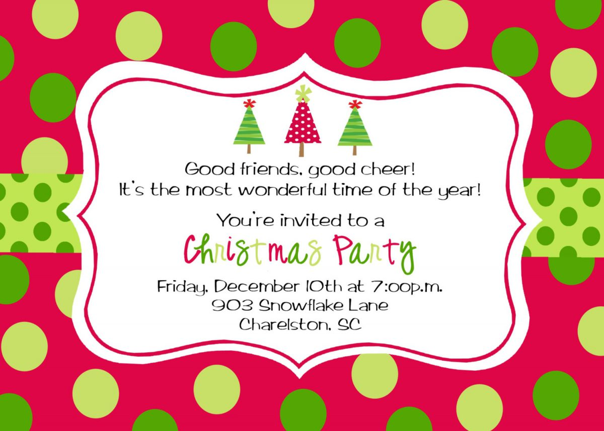 Christmas Party Invitations Free Printable