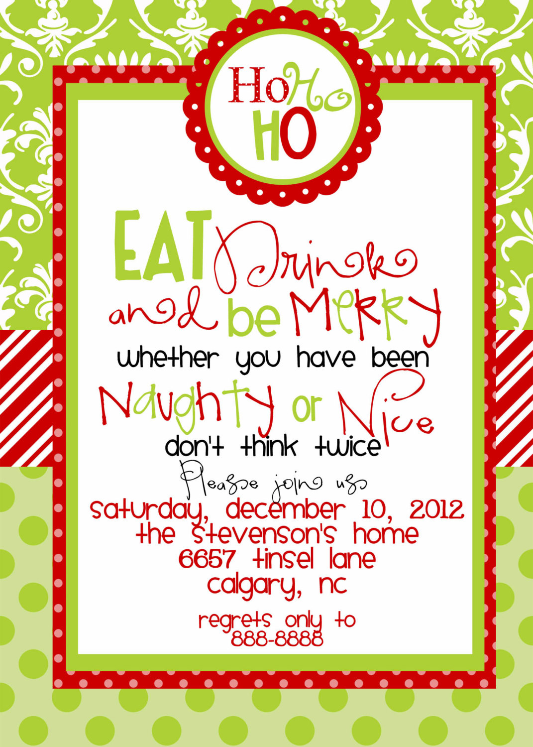 Christmas Party Sample Invitations