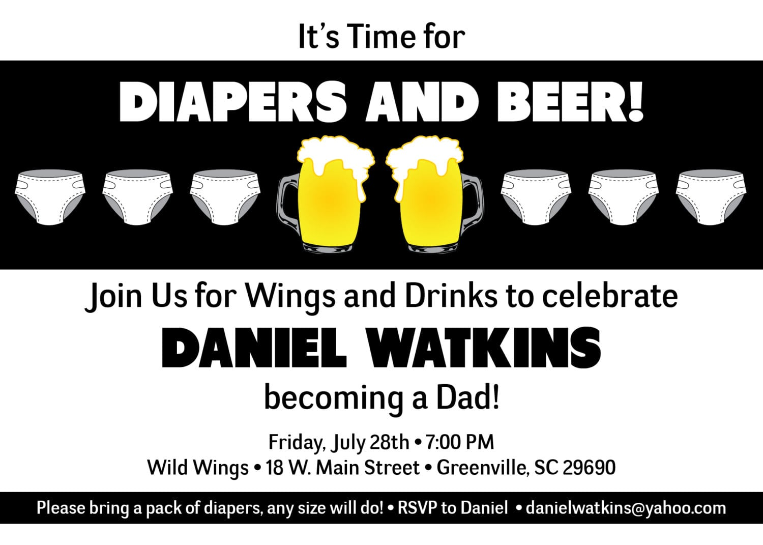 Chuggies, Beer And Diaper Party Invitations, Babies, For Men, Dads