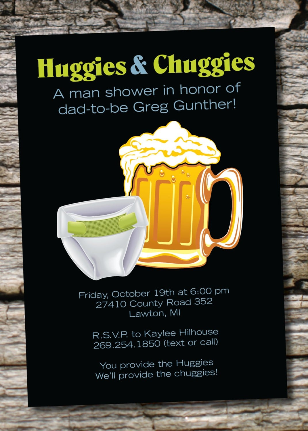 Chuggies For Huggies Customizable Diaper Party Invitation
