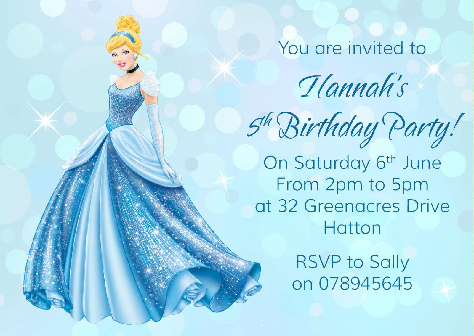Cinderella Birthday Party Invitations Mickey Mouse Invitations